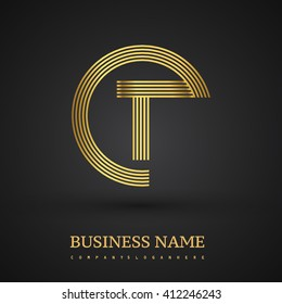 Elegant gold letter T symbol. Vector logo design template elements for your business or company identity.