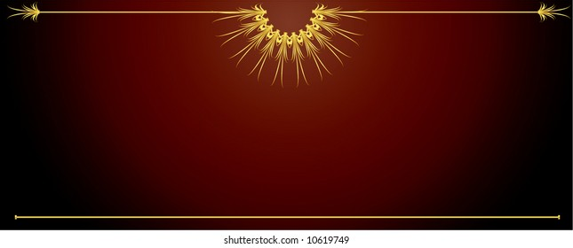 Elegant gold long red background