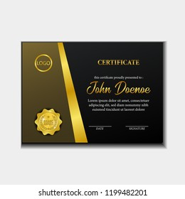 elegant gold luxury certificate template with 3D realistic gold medal