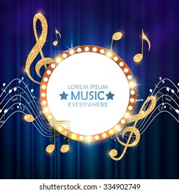 Elegant Gold Music Circle Banner with Notes & Treble Clef on Stage Curtain. Shining Design. Vector illustration