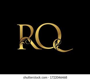 Elegant Gold RQ Letter Floral logo. Vintage drawn emblem for book design, weeding card, brand name, business card, Restaurant, Boutique, Hotel.