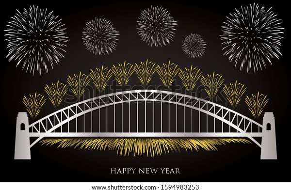 Elegant gold and silver Sydney fireworks card in vector format.