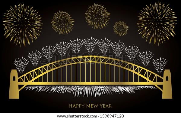 Elegant gold and silver Sydney fireworks card in vector format.