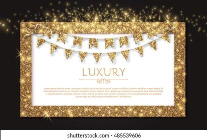 Elegant Gold Textured Frame with Flag Garlands. Vector illustration