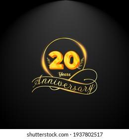 Elegant golden 20 years anniversary logo template. luxury retro vintage style. vector illustration