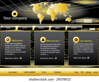 Elegant golden Business class webpage template for your site .Very easy to edit.