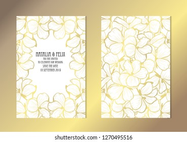 Elegant golden cards with geranium flowers, design elements. Can be used for wedding, baby shower, mothers day, valentines day, birthday, rsvp cards, invitations, greetings. Golden template background