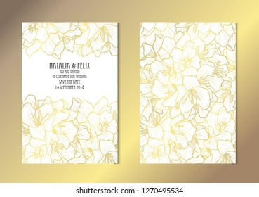 Elegant golden cards with oleander flowers, design elements. Can be used for wedding, baby shower, mothers day, valentines day, birthday, rsvp cards, invitations, greetings. Golden template background