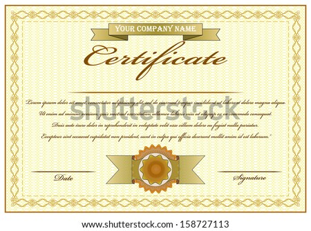 elegant golden certificate of achievement vector illustration with ribbon text and stamp isolated editable