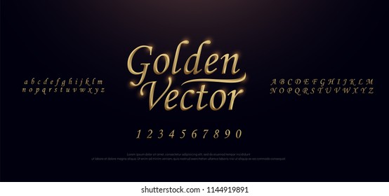 Elegant Golden Colored Metal Chrome alphabet font. Gold typography classic style serif font set. vector illustration