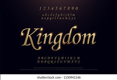 Elegant Golden Colored Metal Chrome alphabet font. Kingdom Gold typography classic style serif font set. vector illustration