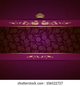 Elegant golden frame banner with crown on the ornate purple background. EPS 10.