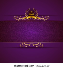 Elegant golden frame banner with gold crown, laurel wreath on ornate purple background. Luxury floral background in vintage style. Vector illustration EPS 10.