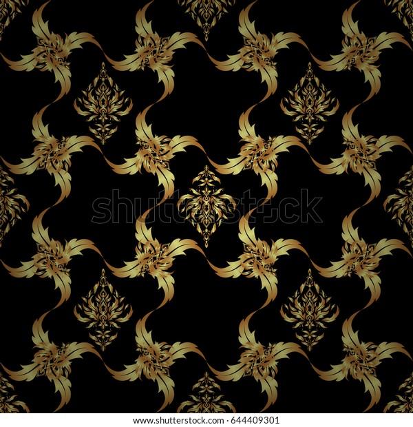 Elegant Golden Invitation Card Vector Floral Stock Image