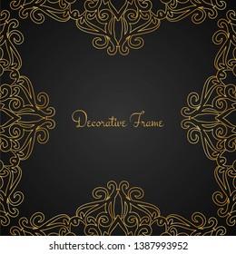 Elegant golden luxury frame, background vector
