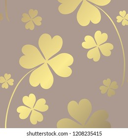 Elegant golden pattern with hand drawn decorative clovers, design elements. Floral pattern for invitations, greeting cards, scrapbooking, print, gift wrap, manufacturing