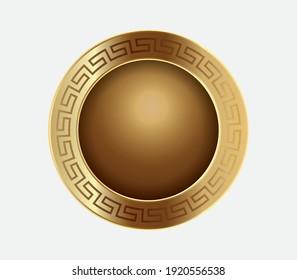 Elegant golden Roman shield. Spartan shield. Ancient golden shield. Pharaoh shields of ancient Egypt. A plate of ancient Egypt. Golden plate.