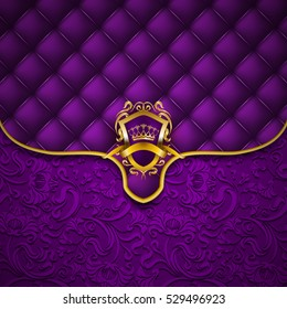 Elegant Golden Shield With Gold Crown Filigree Decor On Ornate Envelope Purple Background Luxury