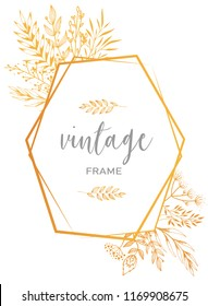 Elegant golden vintage frame decorated by hand sketched floral elements on white background. Perfect for posters, wedding invitations/rsvp, greeting cards design ideas. Vector illustration eps 10.