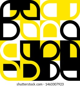 Elegant Grafic pattern with abstract geometric shapes. Black, yellow color. Vector illustration