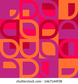 Elegant Grafic pattern with abstract geometric shapes. Purple, pink and orange color. Vector illustration