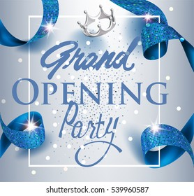 Elegant grand opening invitation card with blue textured curled gold ribbon. Vector illustration
