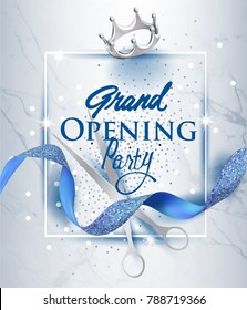 Elegant grand opening invitation card with blue textured curled ribbon and marble background. Vector illustration