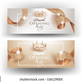 Elegant Grand opening invitation cards with  textured curly beige ribbons and gold crowns. Vector illustration