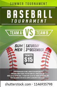 Elegant Green Baseball Poster, Banner Advertising, Sport Event, League, Championship  Tournament Announcement Layout Blank Template