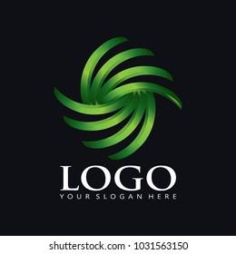 Elegant green leaf of palm tree Logo Icon