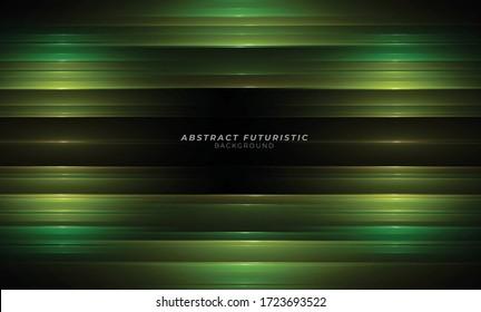 Elegant green lines on dark black background. Luxurious Premium Vector. Detail concept wallpaper.