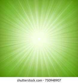 Elegant Green Starburst Background/ Illustration of a design and flashy green star burst background, with thin sun and light beams