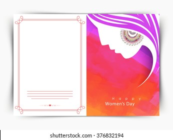 Elegant greeting card design with creative illustration of girl face for Happy Women's Day celebration.