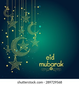 Elegant greeting card design decorated with creative hanging crescent moons and stars for famous festival of Muslim community, Eid Mubarak celebration.