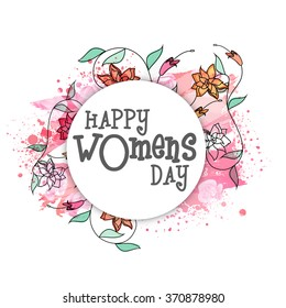 Elegant greeting card design decorated with beautiful flowers for Happy Women's Day celebration.