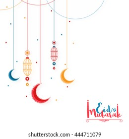 Elegant Greeting Card design decorated with hanging lanterns and colourful crescent moons for Muslim Community Famous Festival, Eid Mubarak celebration.
