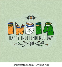 Elegant greeting card design with floral design decorated national tricolor text India for Indian Independence Day celebration.