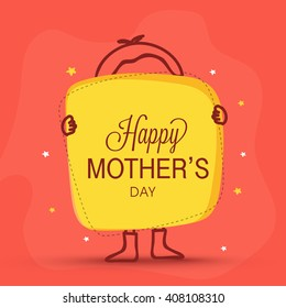 Elegant greeting card design with illustration of a kid showing board for Happy Mother's Day celebration.