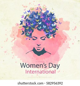 Elegant greeting card design with illustration of young girl for Happy Women's Day celebration on pink paint background.