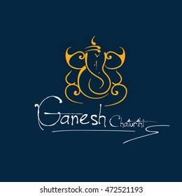 Elegant Greeting Card Design of Lord Ganesha on Flat background for Hindu Festival Ganesha Chturthi.