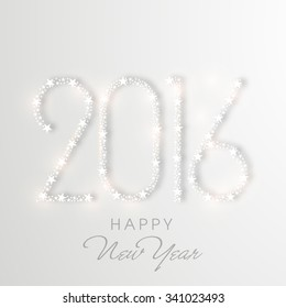 Elegant greeting card design with shiny creative text 2016 for Happy New Year celebration.
