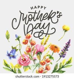 Elegant greeting card design with stylish text Mother's Day on colorful flowers decorated background.
