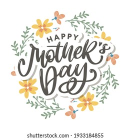 Elegant greeting card design with stylish text Mother s Day on colorful flowers decorated background.