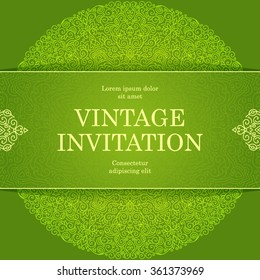 Elegant greeting card design. Vintage floral invitation card template. Luxury swirl greeting card.