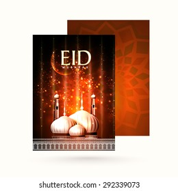 Elegant greeting card with envelope, shiny mosque and glowing crescent moon on floral design decorated background for famous festival of Muslim community, Eid Mubarak celebration.