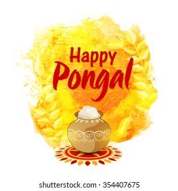 Elegant greeting card with mud pot on colour splash background for South Indian harvesting festival, Happy Pongal celebration.
