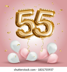 Elegant Greeting celebration fifty five years birthday. Anniversary number 55 foil gold balloon. Happy birthday, congratulations poster. Golden numbers with sparkling golden confetti. Vector
