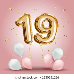 Elegant Greeting celebration nineteen years birthday. Anniversary number 19 foil gold balloon. Happy birthday, congratulations poster. Golden numbers with sparkling golden confetti. Vector background