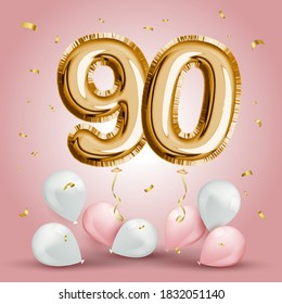Elegant Greeting celebration ninety years birthday. Anniversary number 90 foil gold balloon. Happy birthday, congratulations poster. Golden numbers with sparkling golden confetti. Vector