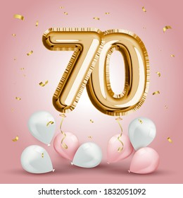Elegant Greeting celebration seventy years birthday. Anniversary number 70 foil gold balloon. Happy birthday, congratulations poster. Golden numbers with sparkling golden confetti. Vector
